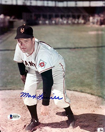 Max Lanier Autographed 8x10 Photo New York Giants Beckett BAS #B26776