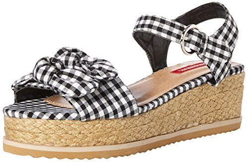 UNIONBAY Women's Olive Flat Sandal Black/White Gingham M065 M US - Gingham Platforms