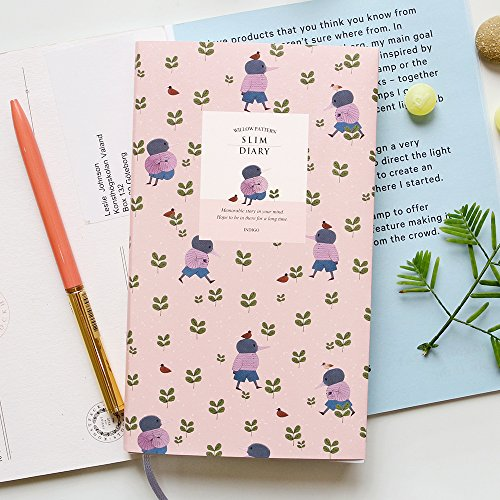 2018 INDIGO Cute Willow Patterns Slim Pocket Personal Daily Diary, Planner, Journal, 3.2 x 6.2 inches (Purple - Mole Purple