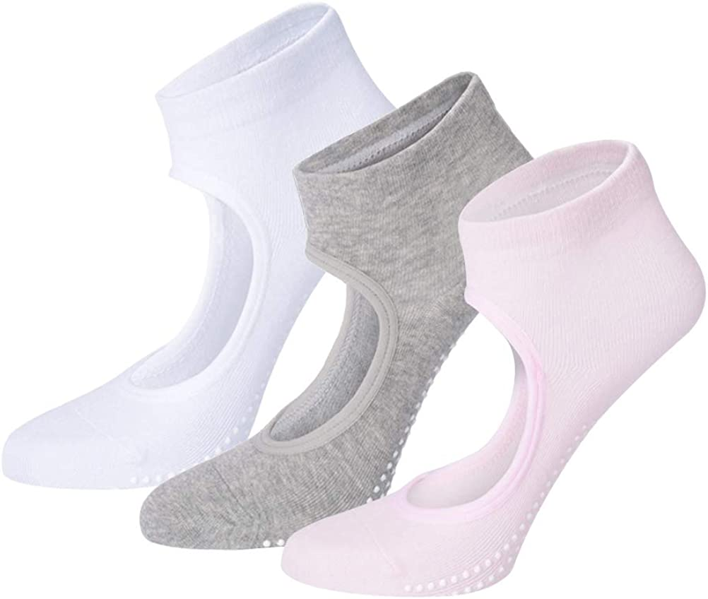 ULEEMARK Calcetines Pilates Yoga Antideslizantes Calcetines para Mujer para Barre Fitness Antideslizantes Calcetines(3 Pares)