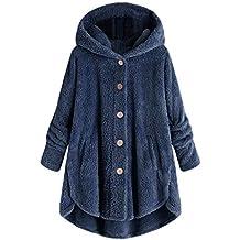Gaabb Womens Oversized Hooded Coats Warm Wool Plush Cardigan Hoodies Button Sweaters