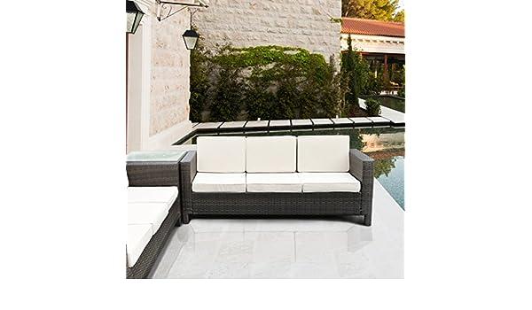 LuxuryGarden sofá 3 plazas de ratán Sintético Salón de ...