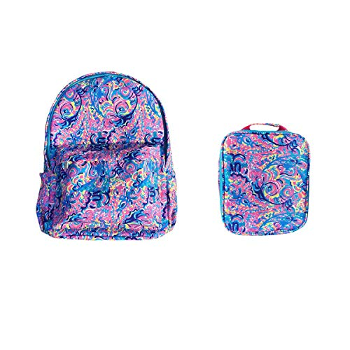 MONOBLANKS Lilly Pulitzer Inspired Kids School Backpack and Lunch Bag (Psychedelic Sunshine (Backpack))