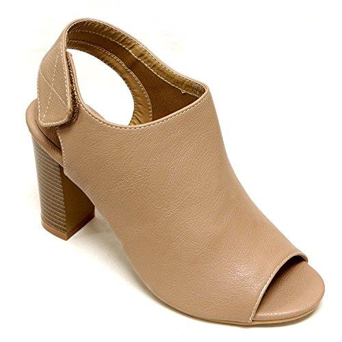 Women's Bella Marie Peep Toe Sling Back Plain Vamp Buckle Ankle Strap Chunky High Heel Bootie Shoes
