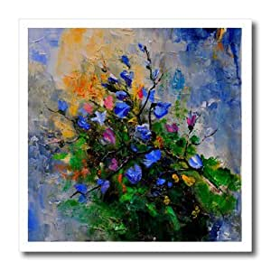 ht_22372_3 Pol Ledent painting Floral - Blue wild flowers - Iron on Heat Transfers - 10x10 Iron on Heat Transfer for White Material