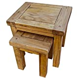 Yabbyou Solid Vintage Solid Oak Compact Nest of 2 Tables