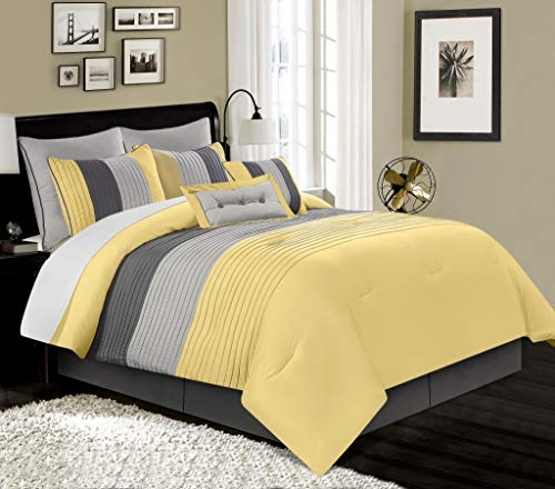 Chezmoi Collection Loft 8-Piece Luxury Striped Comforter Set (California King, Yellow/Gray/Paloma)