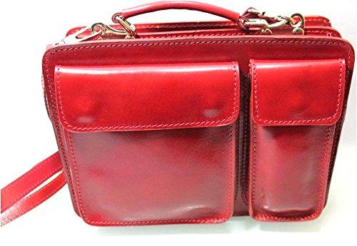 Superflybags Borsa Uomo Piccola Porta Tablet Vera Pelle Made in Italy modello Classic M 28x20x9 Rosso