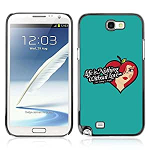 A-type Colorful Printed Hard Protective Back Case Cover Shell Skin for Samsung Galaxy Note 2 II / N7100 ( Life & Love Illustration )