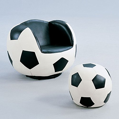 1PerfectChoice Youth All Star Fun Kids Sport Swivel Chair Black & White Ottoman Soccer Pattern by Acme Furniture
