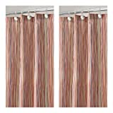 mDesign Abstract Multi-Colored Striped Polyester Spa Shower Curtain - Pack of 2, Earthtone