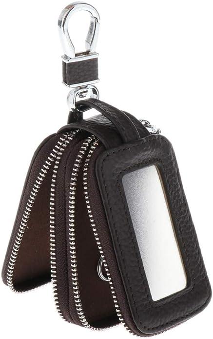 Baoblaze Schlüsseltasche Autoschlüsseltasche Schlüsseletui Mit Doppel Reißverschluss Leder Schlüsselmäppchen Schlüsselbörse Key Case Dunkler Kaffee Schuhe Handtaschen