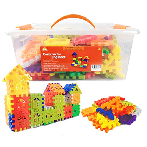 RAINBOW TOYFROG Waffle Blocks for Toddlers & Kids 96 Pcs- STEM Building Toys with Plastic Storage Container - 3 Years Old & Up