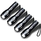 """AmeriLuck Aluminum-Made LED Flashlight 4 Pack, 5.1"""" Handheld, Super Bright, 5 Modes, Zoomable, Water-Proof Troubleshooting, Biking, Hiking, Camping, Walking, Emergencies, 3-Year Warranty (4 Pack)"""