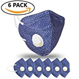 JayJay 6 Pack Dust Mouth Mask PM2.5 Non-Woven Fabric Filter Respirator with Valve,BLUE