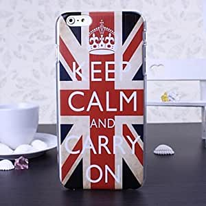 TOPQQ Words Graffiti and England Flag Pattern Plastic Hard Cover for iPhone 6 Plus , Multicolor