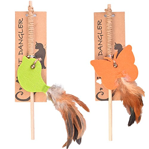 Petacc Cat Feather Toy Cat Dangle Toy Feather Interactive Cat Toy, 2pcs, orange and green