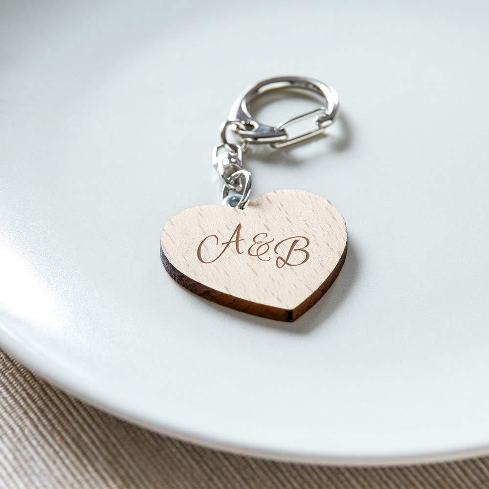 Llavero de madera con forma de corazón - Con grabado ...