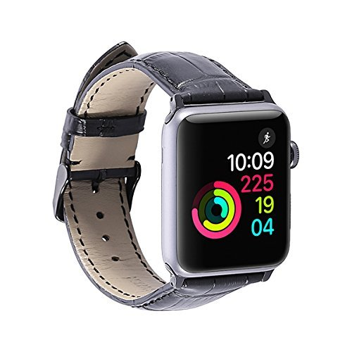 Apple Watch Alligator Grain Band Genuine Calf Leather 42MM Strap for iWatch Series 1 2 3 Replacement apple watchband Sport and Edition Watchband Stainless Metal Clasp Black for Mens Womens