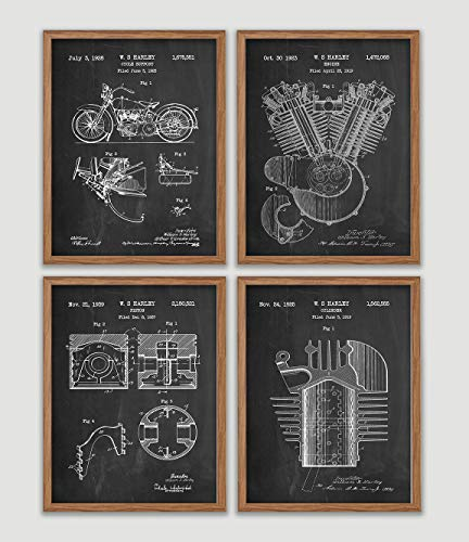 Harley Davidson Patent Art Blue Print Set Engine Cycle Support Piston Patent Wall Art Print Wall Decor Home Decor Wall Hanging