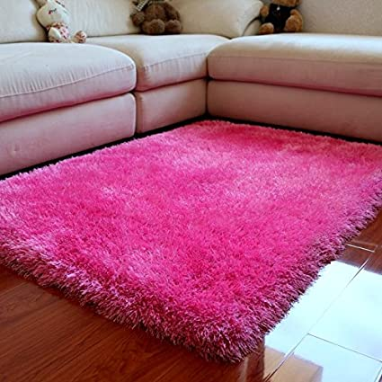 Amazon.com: Ustide Shag Area Rug High Pile Pink Rug for Girls Room ...