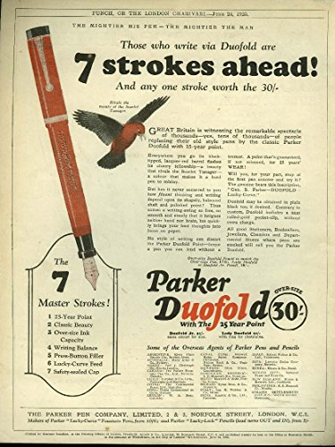 Fountain Duofold Pen (7 strokes ahead Parker Duofold Fountain Pen / Dunlop Ties Tennis Golf ad 1925)