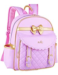 Kuanlise Cute Bowknot Leather Bookbag Girls Backpack for Elementary School