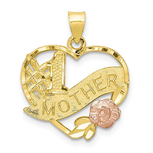 Jewel Tie 10K Rose and Yellow Gold #1 Mother Heart Charm - (0.79 in x 0.67 in) 1 Mother Heart Charm