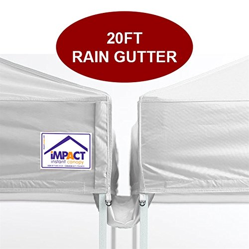 Impact Canopy 20' Canopy Rain Gutter, Impact Canopies Instant Outdoor Shelter Rain Gutter, White by Impact Canopy