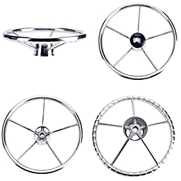 Amarine-made13-1/2 Inch 5-spoke Destroyer Style Stainless Boat Steering Wheel