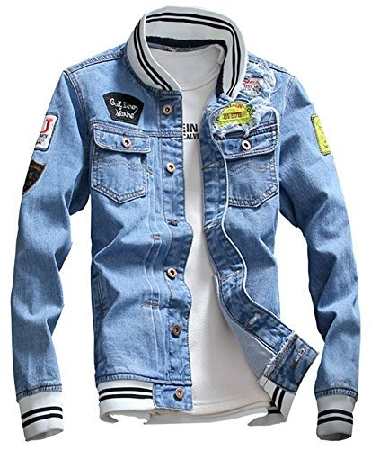 LifeHe Men Slim Fit Denim Jacket Black Jeans Coat (Blue, S) by LifeHe