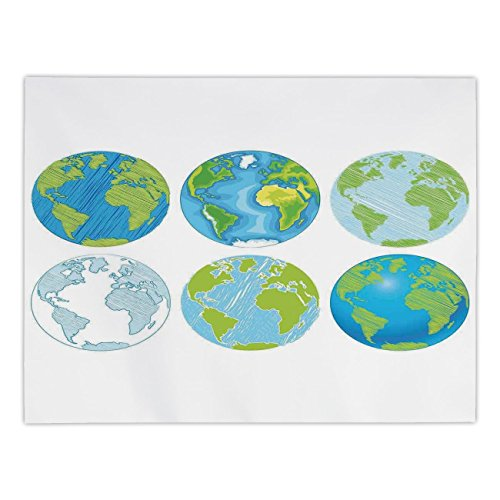 Desk Maple Atlantic (Rectangular Satin Tablecloth,Wanderlust Decor,Illustration of Different Drawings of the World with Atlantic Sea Artwork Deco,Blue Green White,Dining Room Kitchen Table Cloth Cover)