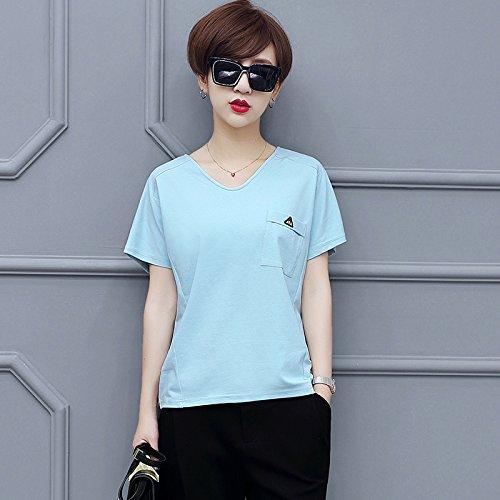 T Scollo Ampio In Maglietta Con shirt E Maniche Solido Cotone Blu Corte Dyy V A Pipistrello 0IaqnH