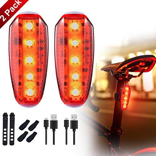 LED Safety Light Clip-on Bike Tail Light USB Rechargeable Safety Warning Light for Bicycle Strobe Rear Light, Runners, Joggers, Kids, Stroller, Walking Dog, Outdoor Adventure (2 Pack)