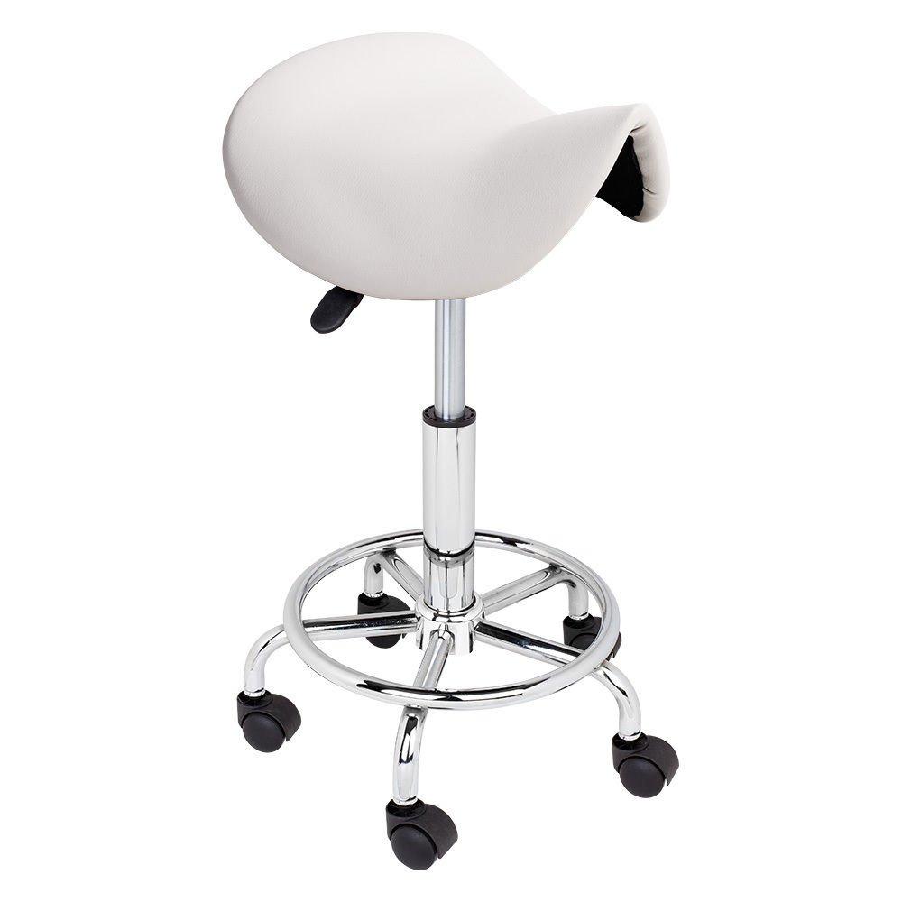 WHITE Adjustable Salon Stool Hydraulic Saddle Rolling Chair Tattoo Facial Massage Spa