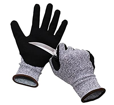 IFUNLE Cut Resistant Gloves, Highest Performance Level 5 Protection, Cut Proof Gloves for Hand Safty, Kitchen Cutting, Yard Work, Outdoor Indoor Use, Lightweight Durable-EN388 Certified, 1 pair, Large