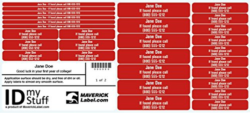Personalized Name Labels - Set of 29 IDmyStuff® Durable Vinyl Personalized Name Labels with Permanent Adhesive - (Labels Baseball)