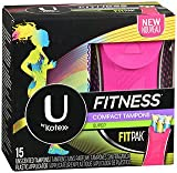 U by Kotex Fitness Ultra Thin Pads with Wings Regular - 8 packs of 15 ct, Pack of 5