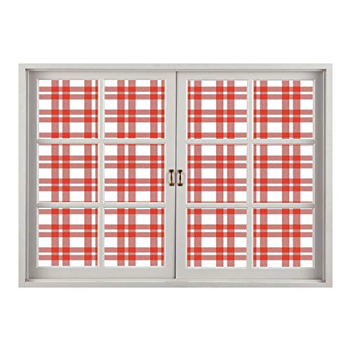 (SCOCICI Wall Mural, Window Frame Mural/Red Plaid,Checkered Squares and Stripes Abstract Geometric Arrangement Quilted Pattern Decorative,Vermilion White/Wall Sticker Mural)