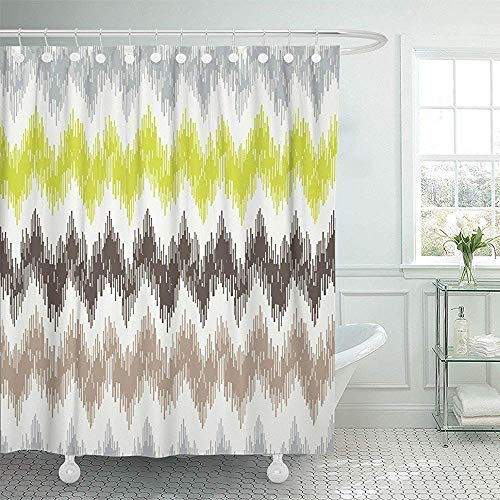 Starookc Shower Curtain 72x72 Polyester Fabric Colorful Chevron With Zig Zag 2 Ikat Missoni Geometric Ethnic Modern Abstract Flames Waterproof Adjustable