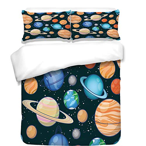 3Pcs Duvet Cover Set,Galaxy,Cute Galaxy Space Art Solar System Planets Mars Mercury Uranus Jupiter Venus Kids Print,Multi,Best Bedding Gifts for Family/Friends by iPrint