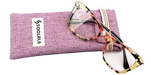 SOOLALA Womens Designer Cat Eye Metal Arms Reading Glasses Customized Strengths, Green, - Glasses Frames Butterfly