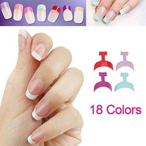100pcs Mini Tips Manicura francesa Uñas Postizas Falsas Manicura nail art 10 tamaños pegamento lima cortauñas 18colores de elegir --16 blanco perla: ...