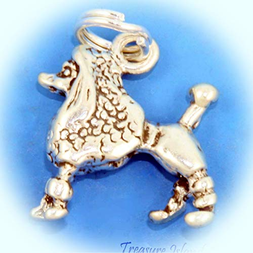 French Poodle Puppy Dog Breed 3D .925 Solid Sterling Silver Charm Vintage Crafting Pendant Jewelry Making Supplies - DIY for Necklace Bracelet Accessories by CharmingSS