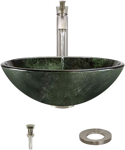 629 Brushed Nickel Bathroom 726 Vessel Faucet Ensemble Bundle – 4 Items Vessel Sink, Vessel Faucet, Pop-Up Drain, and Sink Ring
