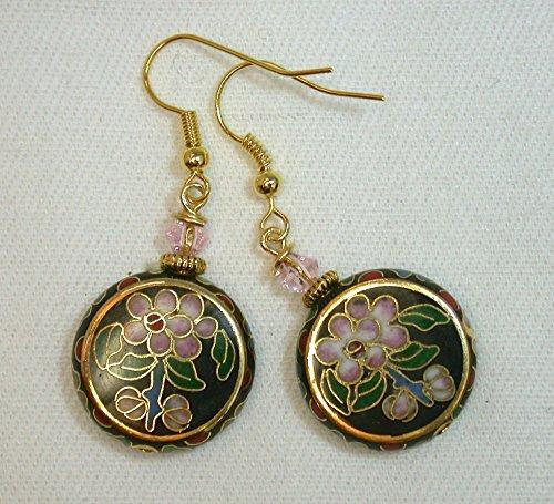 Vintage Chinese 1970s Black Cloisonne Pink Flowers Flat Round Bead Earrings, Vintage Pink Crystal Bead