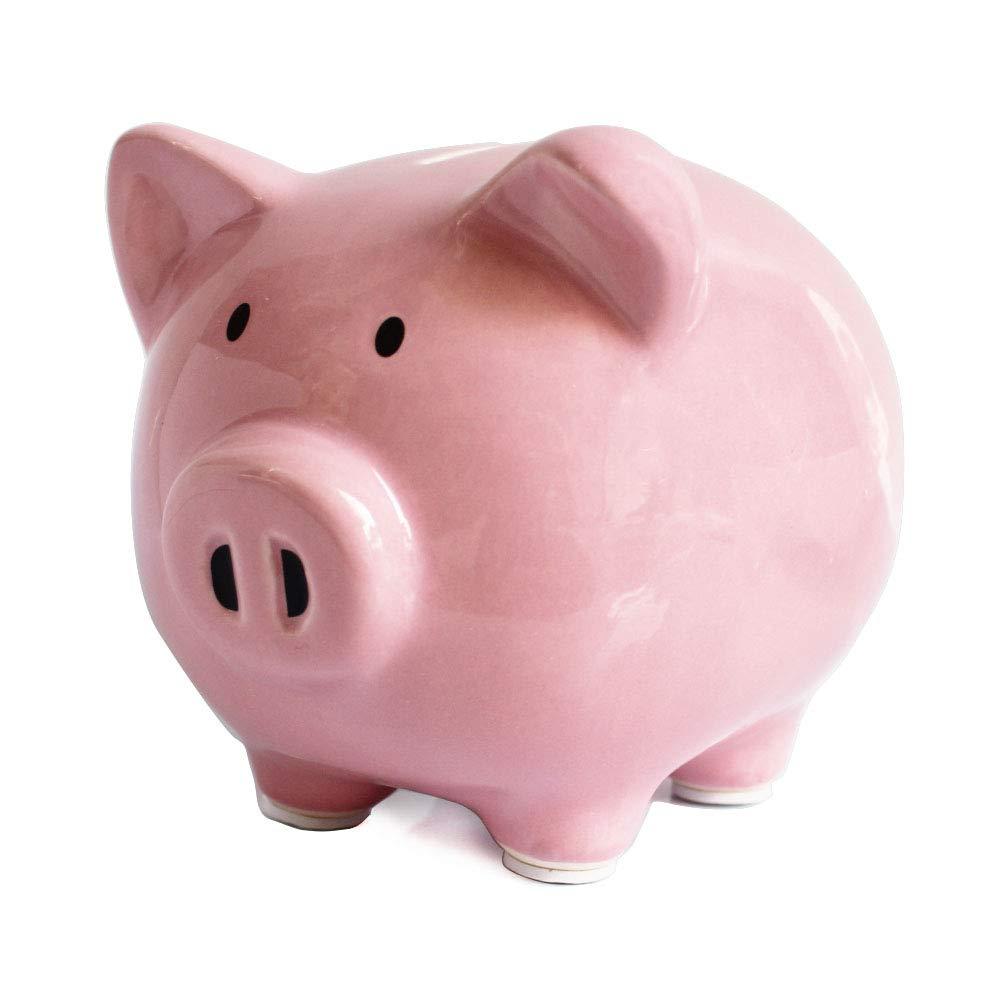 Pink Piggy Banks, Piggy Bank for Girls Boys Kids A New for White Piggy Bank for Boys,Girls,Kids,Adult Coin Bank with DIY Sticker