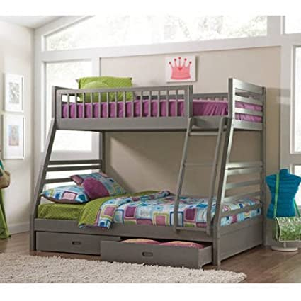 Amazon Com Coaster Cooper Bunk Bed Twin Over Full In Grey Finish