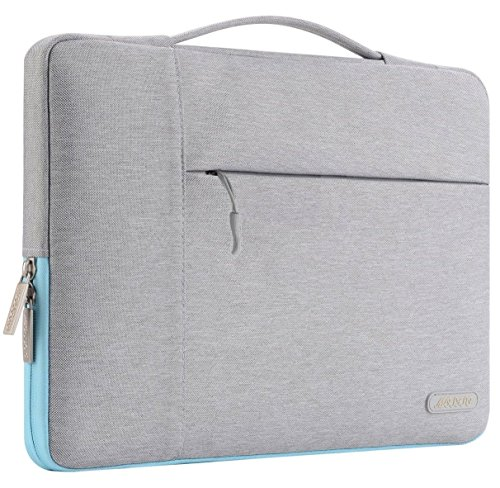 Mosiso Polyester Fabric Multifunctional Sleeve Briefcase Handbag Case Cover Only for 2016 Newest MacBook Pro 13 Inch with/without Touch Bar (A1706/A1708), Gray & Hot Blue