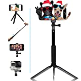 selfie stick Extendable monopod tripod with Bluetooth wireless remote for Android phones &iPhone 8/iPhone 8 Plus/X/iPhone 7/iPhone 7 Plus/Galaxy Note 8/S8 /S8 digital cameras GoPro